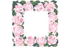 Vintage roses frame. Vector.