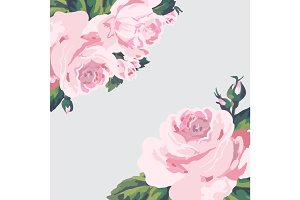 Vintage roses card on light background