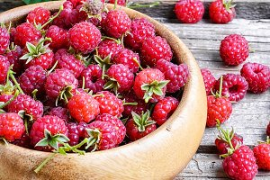 Harvest ripe raspberries
