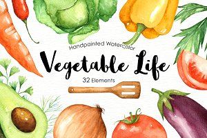 Vegetables Life Watercolor Clip Arts