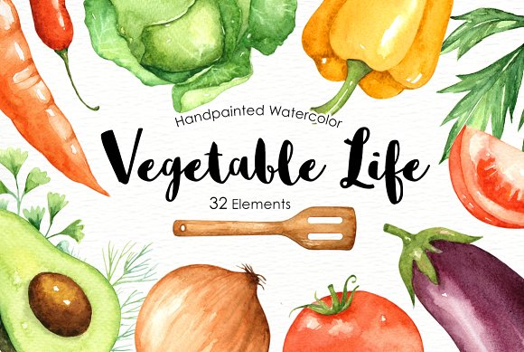 Vegetables Life Watercolor Clip Arts