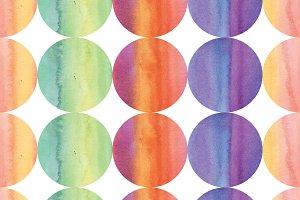 Watercolor polka dots.