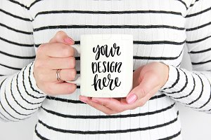 White mug mockup stock photo