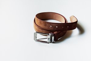 Leather belt isolated on white background.