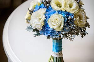 Wedding bouquet of yellow roses and other flowers