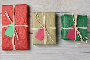 Three Tissue Wrapped Presents