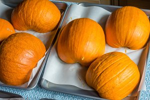 Pumpkins on baking trays