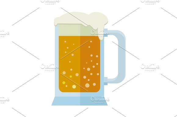 Glass Of Beer Isolated On White Mug Or Tankard
