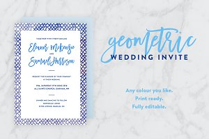 Geometric Watercolor Wedding Invite