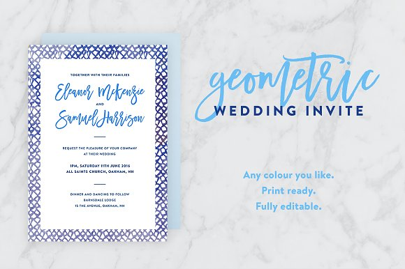 geometric watercolor wedding invite invitation templates
