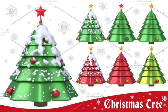Christmas Tree 3D Set 1 in Graphics