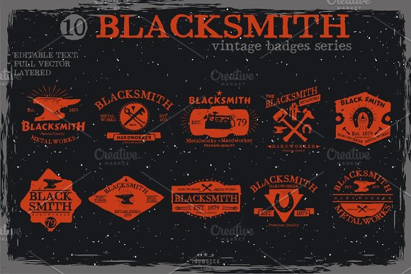 Blacksmith badge (EDITABLE TEXT) in Logo Templates - product preview 1