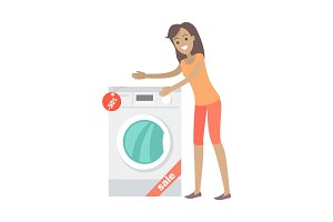 Woman Buys Washing Machine in Flat Style Isolated