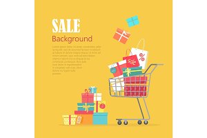 Sale Background. Cart with Gift Boxes, Paper Bags