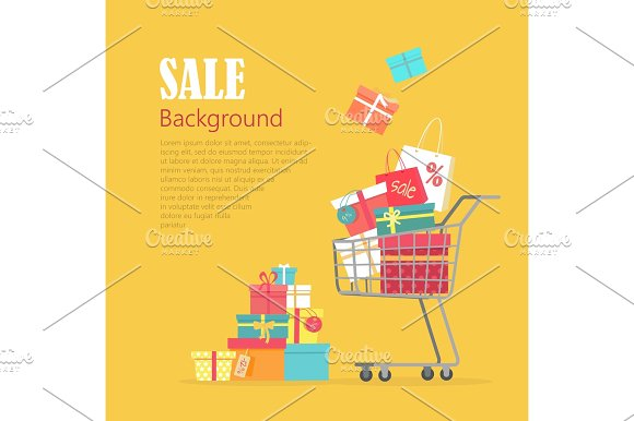 Sale Background Cart With Gift Boxes Paper Bags