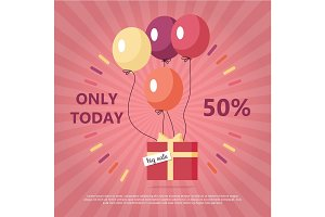 Gift Box with Text Big Sale Flying on Balloon