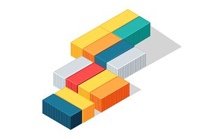 Sea Containers in Isometric Projection Vector