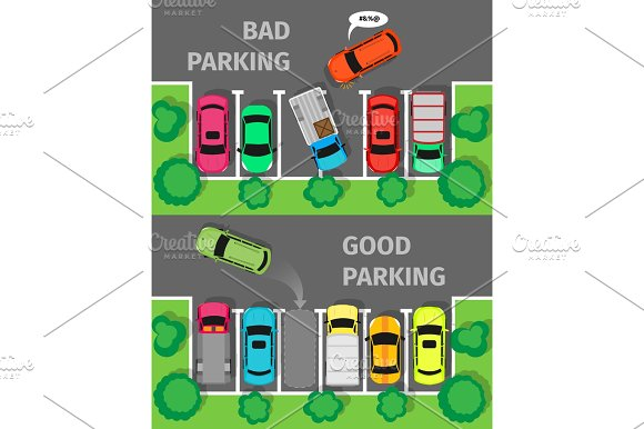 Bad And Good Parking Top View