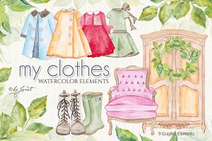 my clothes - watercolor elements