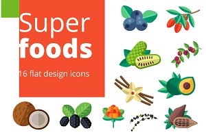 Superfoods set in flat