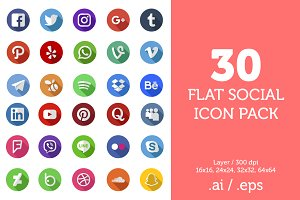 Social Icons - 30 Social Icon Pack
