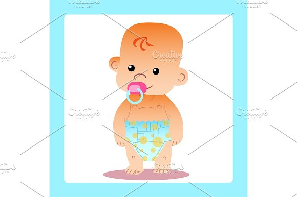 Happy Baby With A Pacifier In Diapers
