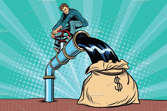 Retro Businessman Fills The Oil In The Bag Of Money