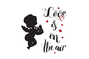 Cupid Love silhouette with harp and Love is on the air