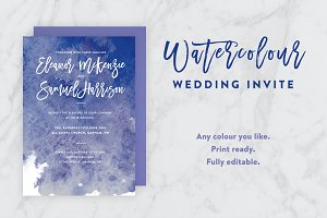 Ink Watercolor Wedding Invite PSD