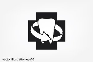 tooth arrow, icon vector