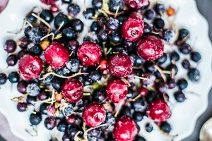 frozen berries, cherries and Cassis
