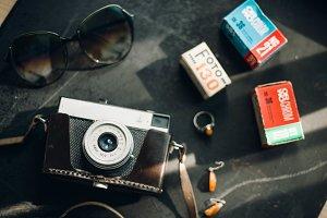 flat lay film camera