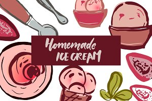 Ice cream elements illustration