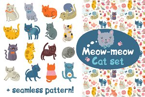 Cat set. Characters + Pattern