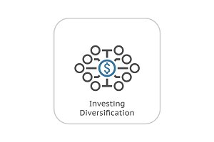 Investing Diversification Icon. Flat Design.