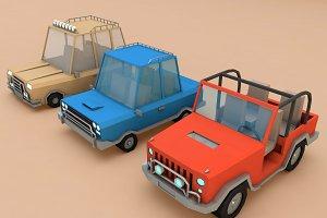 Cartoon Car Set Low Poly 3D Model