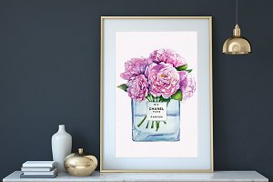 Printable Watercolor Peony in a Vase