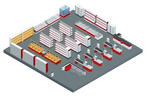 Vector isometric supermarket interior plan. Image includes store cross-section, furniture and equipment