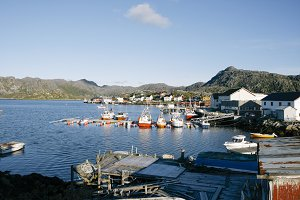Landscape of fishing port in Norway