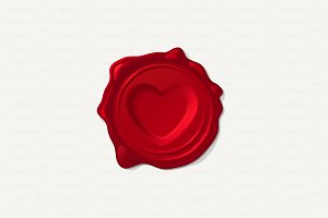 ♥ vector Wax seal. Concave heart