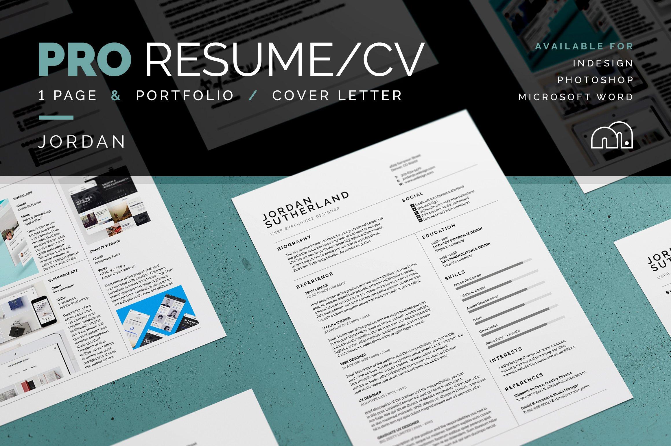 pro resume cv cameron resume templates creative market