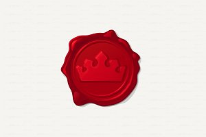 ♥ vector Wax seal. Convex crown