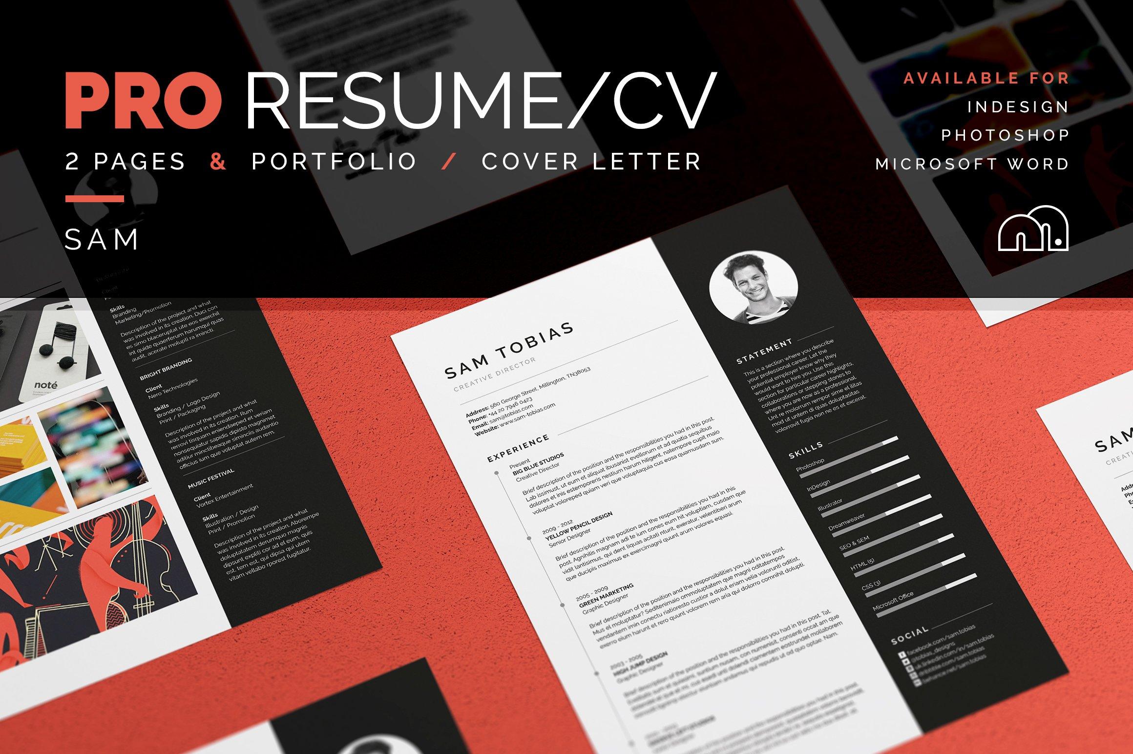 Pro Resumecv Sam Resume Templates Creative Market
