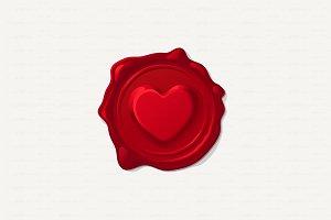 ♥ vector Love wax stamp