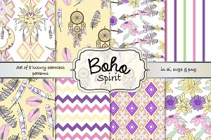 Boho seamless pattern set