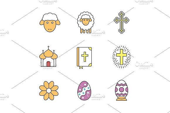 Easter 9 Icons Vector