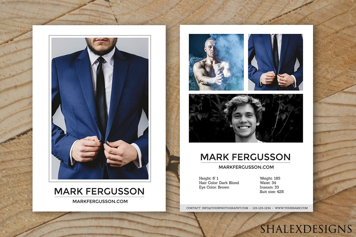 Male Modeling Comp Card Template With Download Comp Card Template