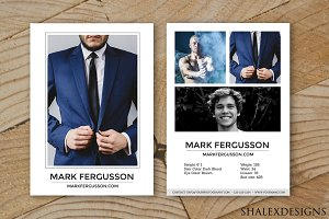 Male Modeling Comp Card Template