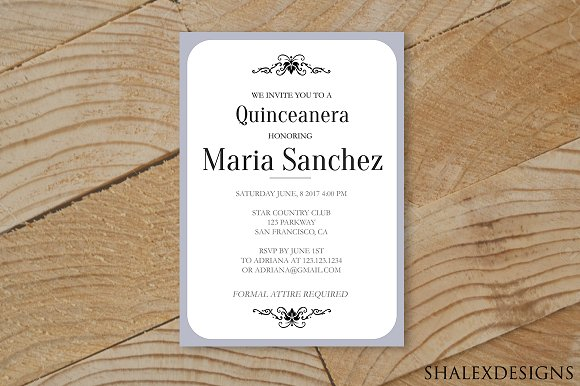 quinceanera invitation template invitation templates creative market