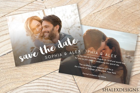 Save the date wedding template card templates creative market save the date wedding template cards pronofoot35fo Images